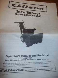 Gilson Snow Thrower Operators Manual & Parts List