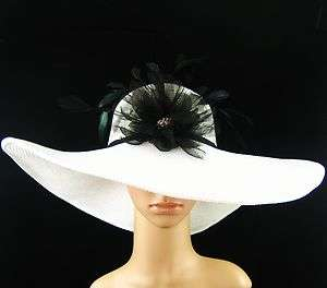 Kentucky Derby WHITE Hat Feathers Wide Brim Dress Wedding Tea Party