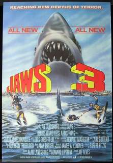 JAWS 3 1983 3D Rolled British one sheet Movie poster