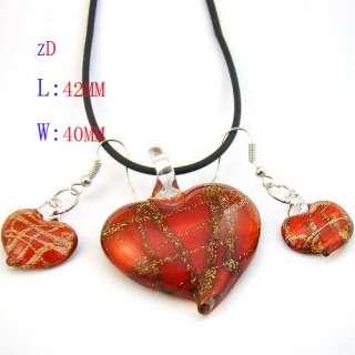 Lampwork Glass Heart Bead Necklace Earrings set Fashion Jewelry