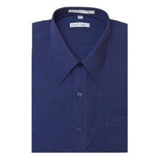 Mens NAVY BLUE Dress Shirt w/ Convertible Cuffs Clothing