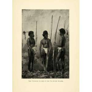 1898 Print Philippine Island Indigenous Native Tribal Bow