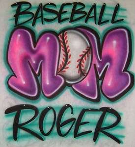 Airbrush Baseball Mom With Personalized Name T shirt
