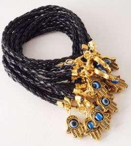 10 Hamsa EVIL EYE Black leather bracelet with gold hamsa pendant