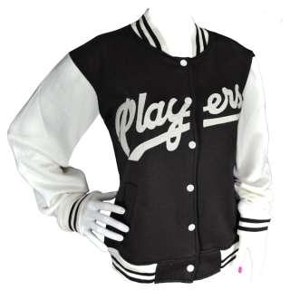 Womens Players Style Baseball Varsity Jacket Top Ladies Size S XL
