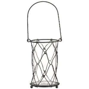 4.5dx7.5h Wire Mesh Lantern/Vase W/Glass Antique Brown