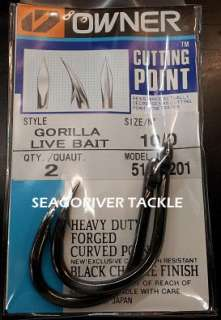 OWNER GORILLA LIVE BAIT FISHING HOOKS 5105 Size 10/0 (NEW)