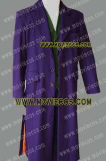 Movie Heath Ledger Joker Purple Trench Coat Costume * Well Tailor Made