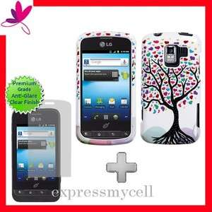 Screen + LOVE TREE Hard Case Cover Straight Talk NET 10 LG OPTIMUS Q