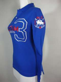 Ralph Lauren Skinny Polo Shirt Dual Match Blue LS NWT