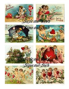 Vintage Victorian Valentines Day Stickers Hearts Cupid