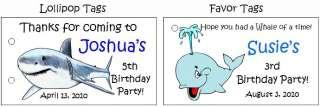 10 Dolphin Shark Whale Party Lollipop sucker Favor Tags