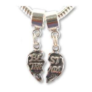 Best Friends Dangle Sterling Silver Charm Bead Set of 2 Fits European