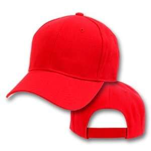 Red Plain Adjustable Velcro Baseball Cap Hat