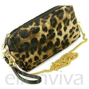 Leopard Print Clutch Purse Bag with Detachable Shoulder Strap bg005bk