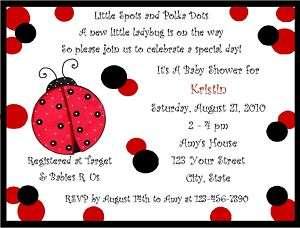 Personalized Ladybug Baby Shower Invitations