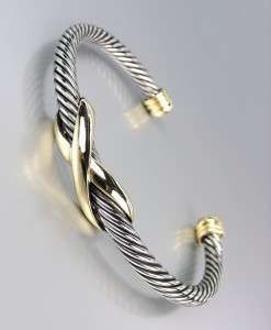Designer Style Silver Cable Gold X Cuff Bracelet