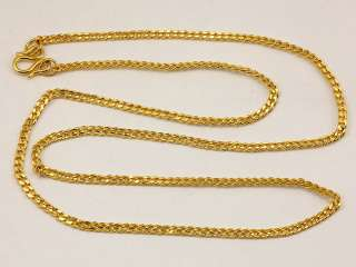 24K Solid Gold Flat Cuban Link Chain Necklace 22 18.3 9999