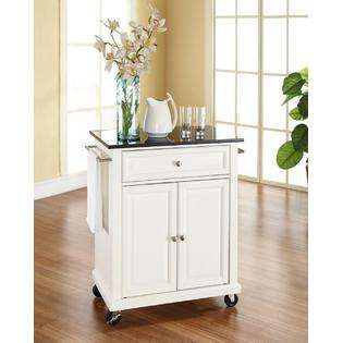 Crosley Portable Kitchen CartIsland Solid Black Granite White Finish