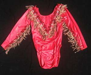 Dance Costume Gymnastics Western LS Leotard Red 6X 7 8