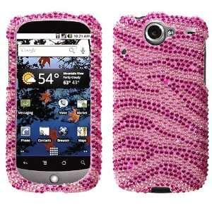 Pink Zebra Skin Diamante Crystal Protector Phone Cover for HTC Google
