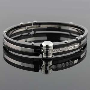 Stainless Steel Black and Silver Handcuff White Crystals CZ Mens