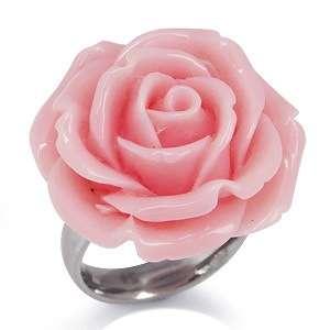 24MM Rose Pink Stainless Steel ROSE FLOWER Ring