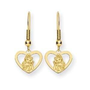 Gold plated SS Disney Belle Heart Dangle Wire Earrings Jewelry