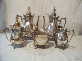 Victorian Aesthetic Silver Plate Figural Footed Tea/Coffee Set Service
