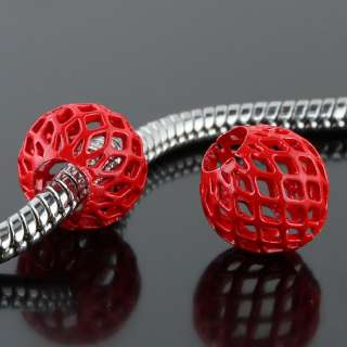 Bulk Colorful Tenis Ball Metal Mesh Nets Hollow European Bead Fit
