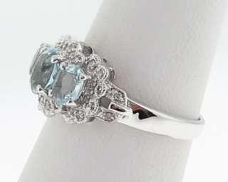 Natural Aquamarines Diamonds Solid 14k White Gold Ring