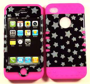 in 1 HYBRID Silicone Rubber+Cover Case for APPLE iPhone 4 4S Pink