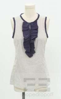 Tory Burch White & Blue Cotton Polka Dot Ruffle Top Size 4