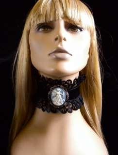 Gorgeous Black Velvet and Ruffled Lace DIANA Huntress Cameo Choker