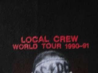 Local Crew 1990 1991 World Tour T shirt Unworn Concert XL Angus