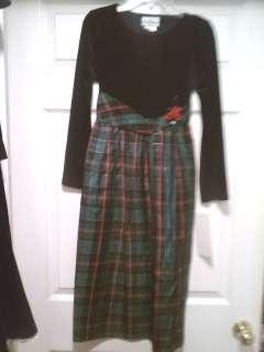 Editions Navy Blue Velvet Longsleeve Green Plaid Skirted dress size 12