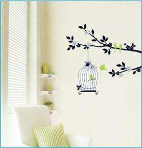 WALL DECAL DECO DECOR MURAL STICKER CAGE Tree Bird ART