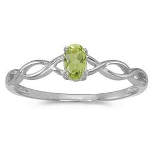 14k White Gold August Birthstone Oval Peridot Ring Jewelry
