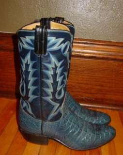 TONY LAMA BLACK LABEL BLUE ALLIGATOR CROCODILE COWBOY WESTERN BOOTS 8