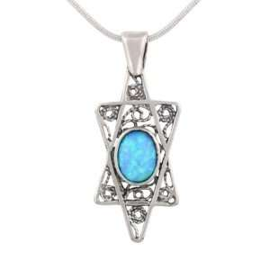 Star David Shield Sterling Silver Opal Judaica Pendant: Jewelry