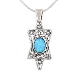 Star David Shield Sterling Silver Opal Judaica Pendant Jewelry