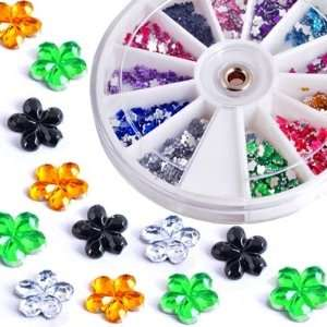 1200X Nail Art Tips Glitter Rhinestone Decoration+Wheel