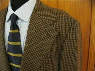 Evan Picone Mens Classic Brown Houndstooth Blazer Sport Coat Suit