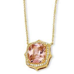 Gold plated Sterling Silver Asscher cut Pink CZ 18in Necklace Jewelry