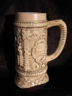 GERMAN THEMED CERAMIC BEER BEER GLASS MUG BIER ODER WEIN BROWN BEER