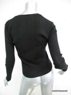 Shin Choi Black Long Sleeve Ribbed Cardigan S