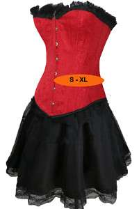 RED W/ FUR CORSET W/ GOTHIC SKIRT SMALL   PLUS SIZE 6XL