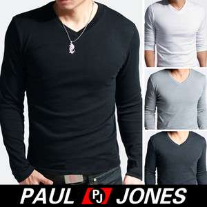 New Mens Slim Fit Cotton Lycra V Neck Long Sleeve Casual T Shirt Tops