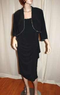 ALEX EVENINGS CLASSY BLACK 2 PIECE RHINESTONE TRIM DRESS & JACKET, 20W