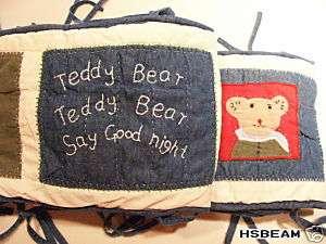 Kids Teddy Bear Baby Crib Nursery Bed Bumper Quilted Bedroom